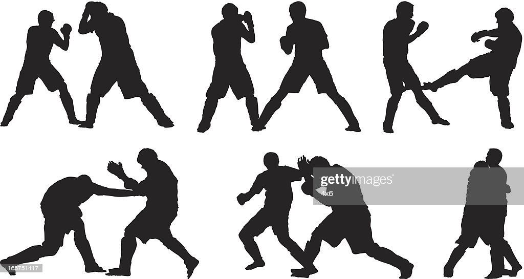 Male fighters kickboxing
