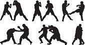 Male fighters kickboxing