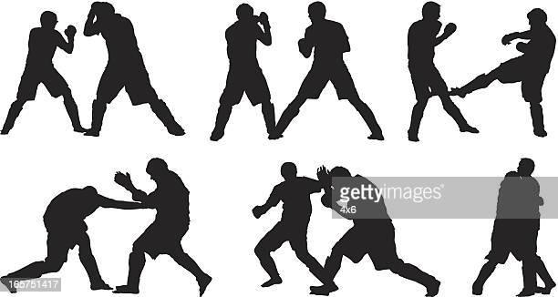 illustrations, cliparts, dessins animés et icônes de mâle combattants kick-boxing - combat libre