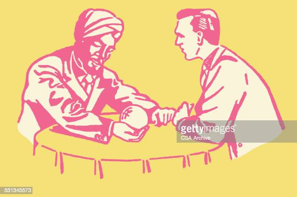 male fortune teller with client and crystal ball - wizard stock illustrations, clip art, cartoons, & icons