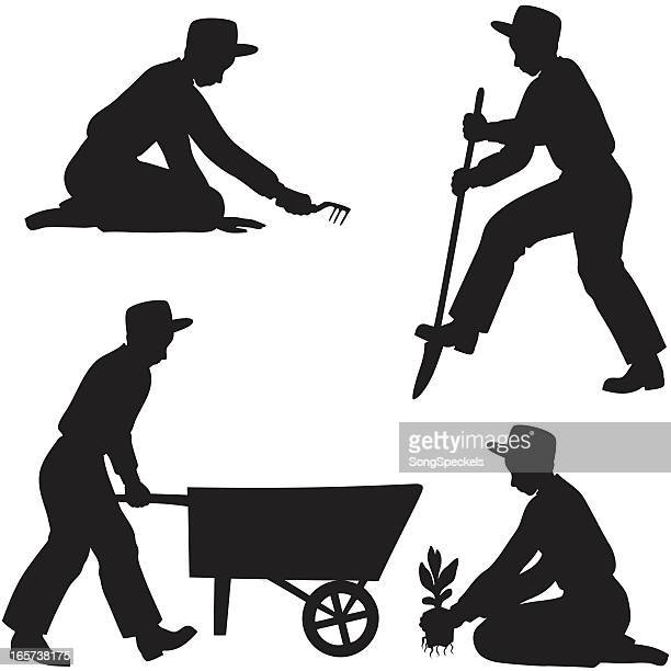 male gardener silhouettes - harrow agricultural equipment stock illustrations, clip art, cartoons, & icons