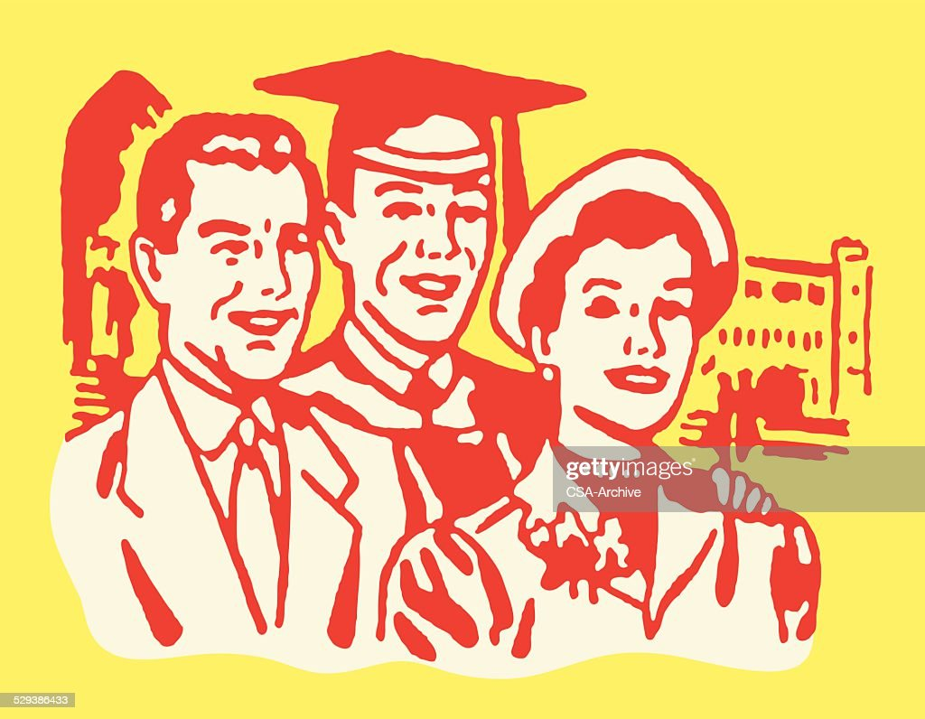 Male Graduate with Parents