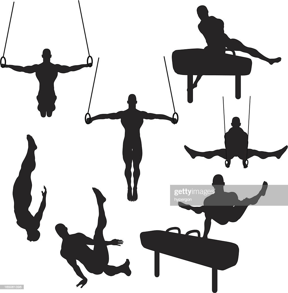 Male Gymnastics Silhouette Collection (vector+raster)
