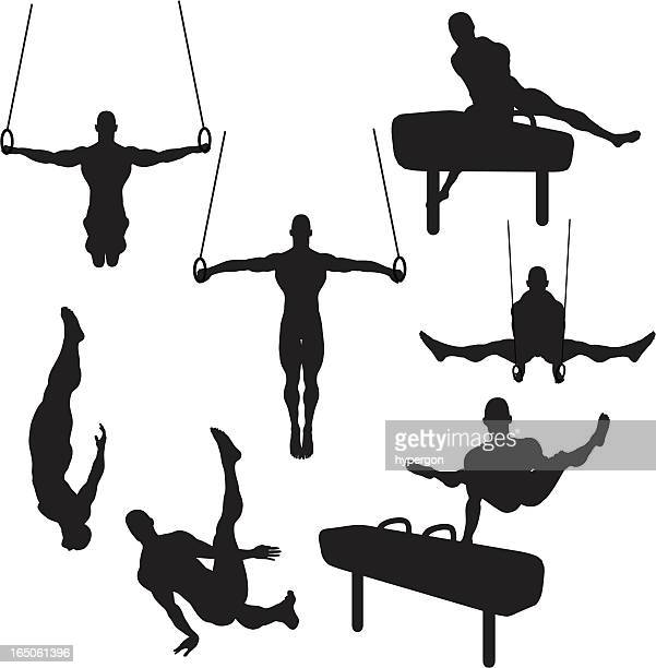 male gymnastics silhouette collection (vector+raster) - gymnastics stock illustrations