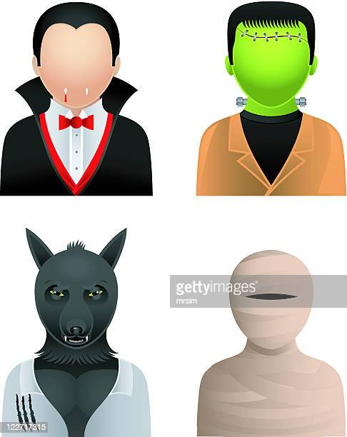 male halloween avatars, people icons - count dracula stock illustrations, clip art, cartoons, & icons