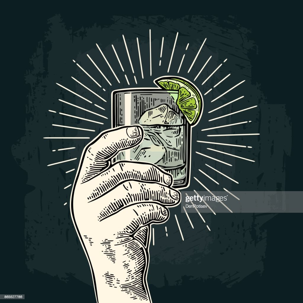 Male hand holding a glass with gin. Vintage vector engraving