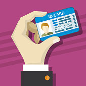 Male hand holding id card with photo vector illustration