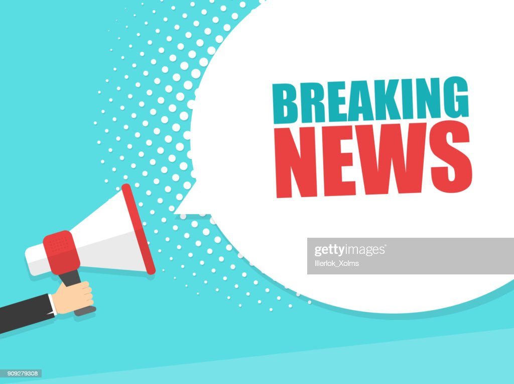 Male hand holding megaphone with Breaking news speech bubble. Loudspeaker. Banner for business, marketing and advertising. Vector illustration.