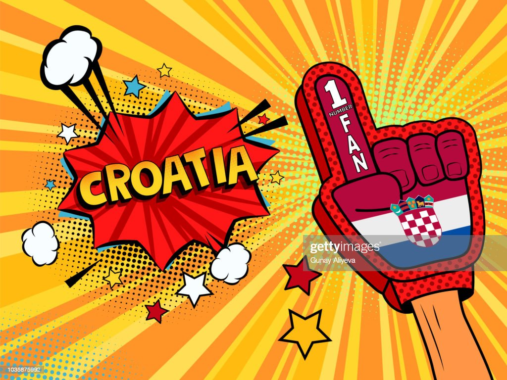 Male hand in the country flag glove of a sports fan raised up celebrating win and Croatia.jpg speech bubble with stars and clouds. Vector colorful illustration in retro comic style