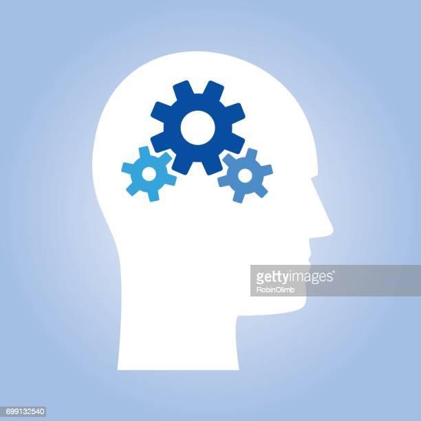 男性ヘッド青い歯車 - 組み合わさる点のイラスト素材/クリップアート素材/マンガ素材/アイコン素材