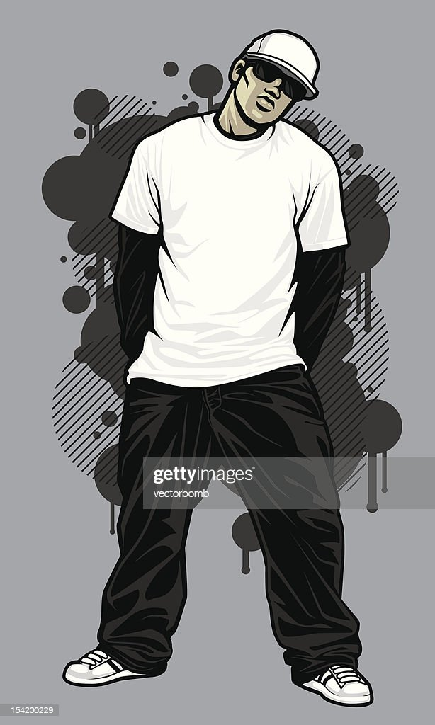 Male Hip-Hop Apparel Model: T-Shirt Pose