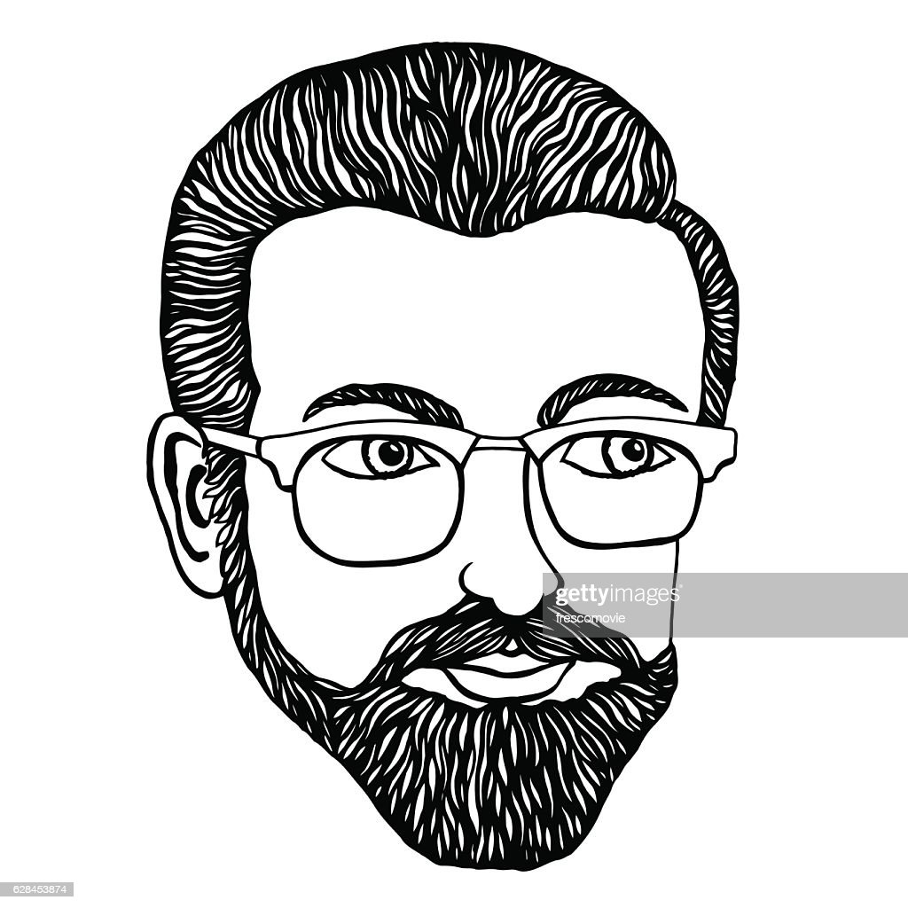 Male hipster Hand-drawn