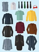 Male jackets, shirts and ties