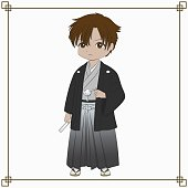 Male Japanese Kimono Vector Illustration