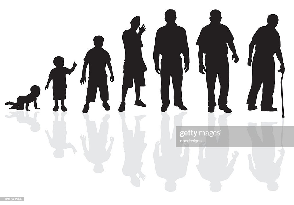 Male Life Cycle Silhouette : stock illustration