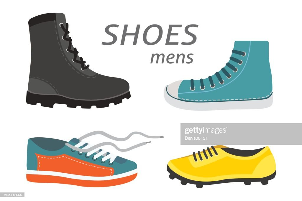 Male man season shoes in flat style. Men boots isolated set vector illustration