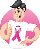male mascot supporting breast against awareness campaign
