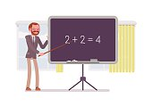 Male mathematic teacher is teaching maths