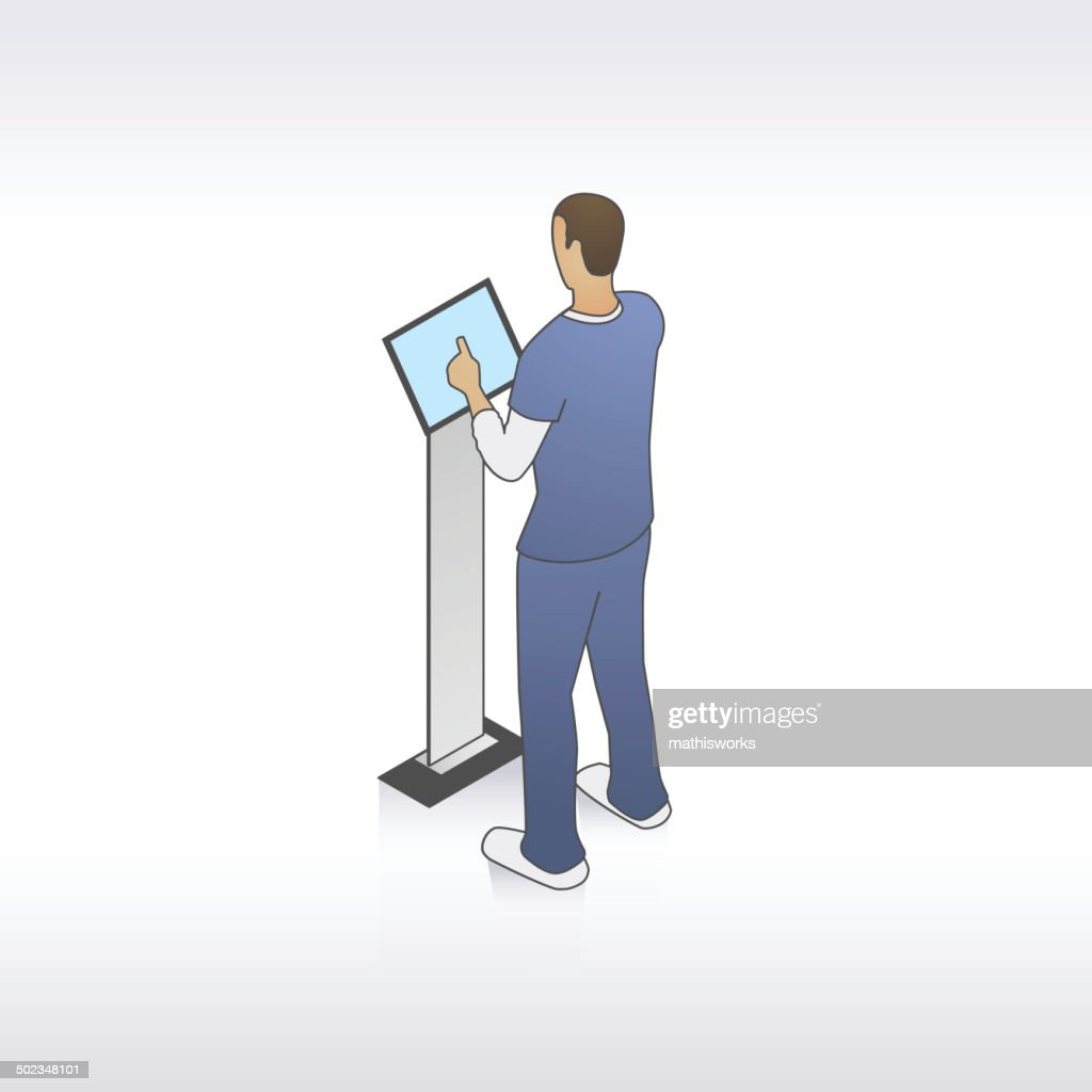 男の看護師のキオスクイラストレーション : ストックイラストレーション