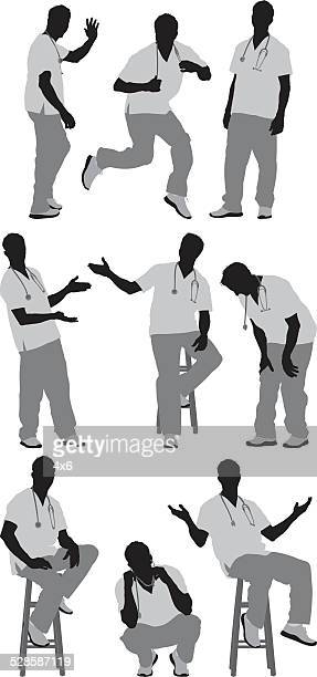 Male nurse in various actions
