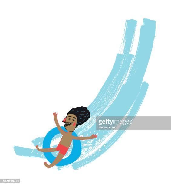 ilustraciones, imágenes clip art, dibujos animados e iconos de stock de hombre en tobogán - pool party