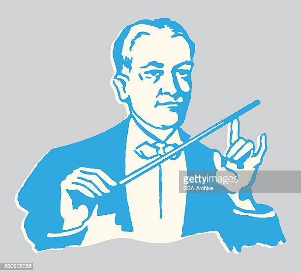 male orchestra conductor - orchestra stock illustrations, clip art, cartoons, & icons