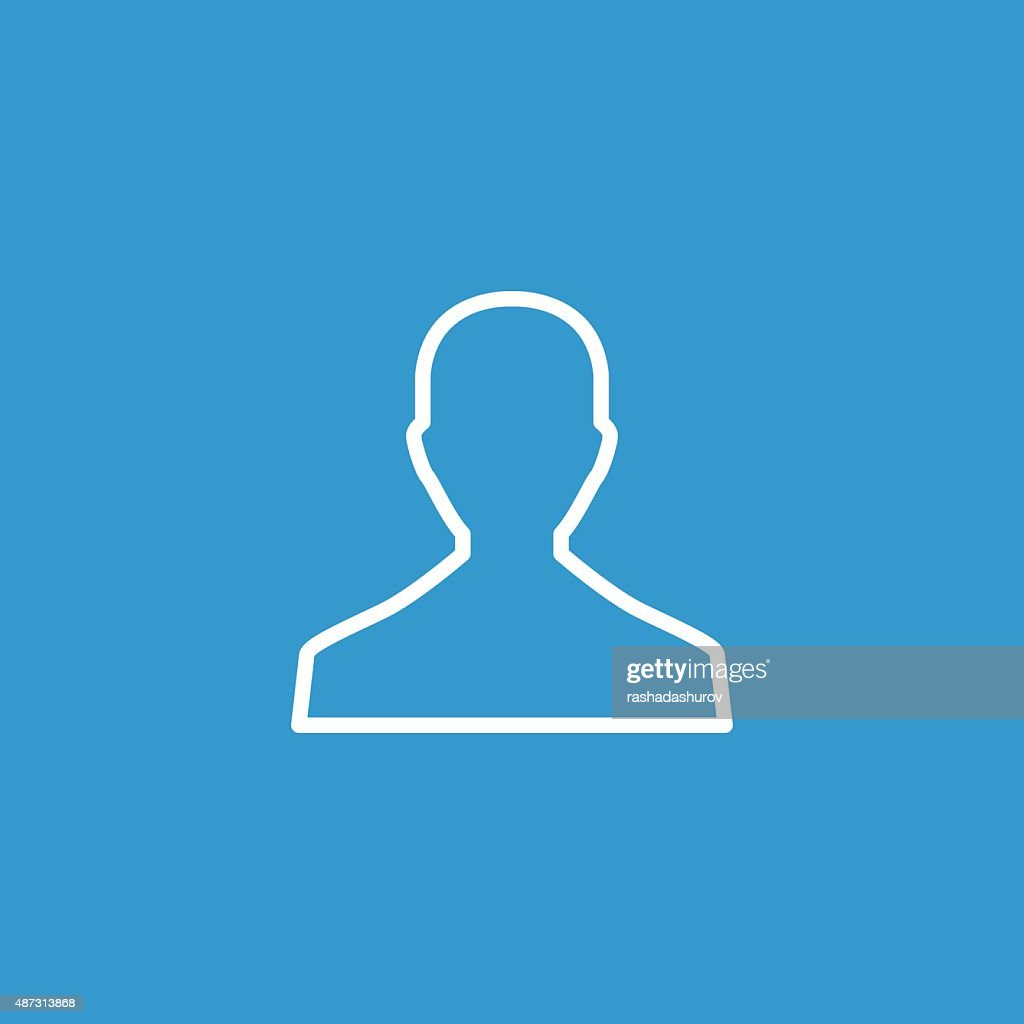 male outline icon, isolated, white on the blue background