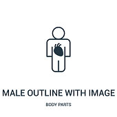 male outline with image of the heart icon vector from body parts collection. Thin line male outline with image of the heart outline icon vector illustration.