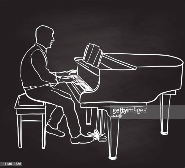Male Pianist Chalkboard