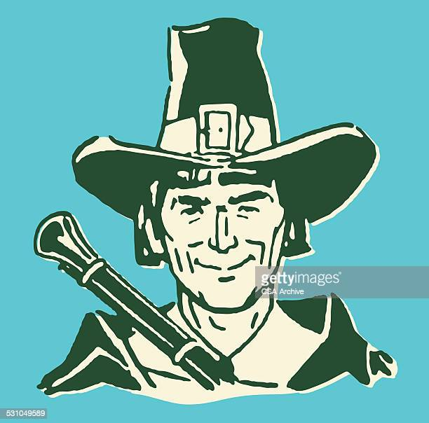 male pilgrim with rifle - pilgrim stock illustrations, clip art, cartoons, & icons