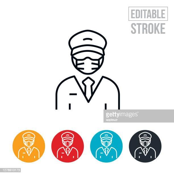 male pilot wearing face mask thin line icon - editable stroke - aviator's cap stock illustrations