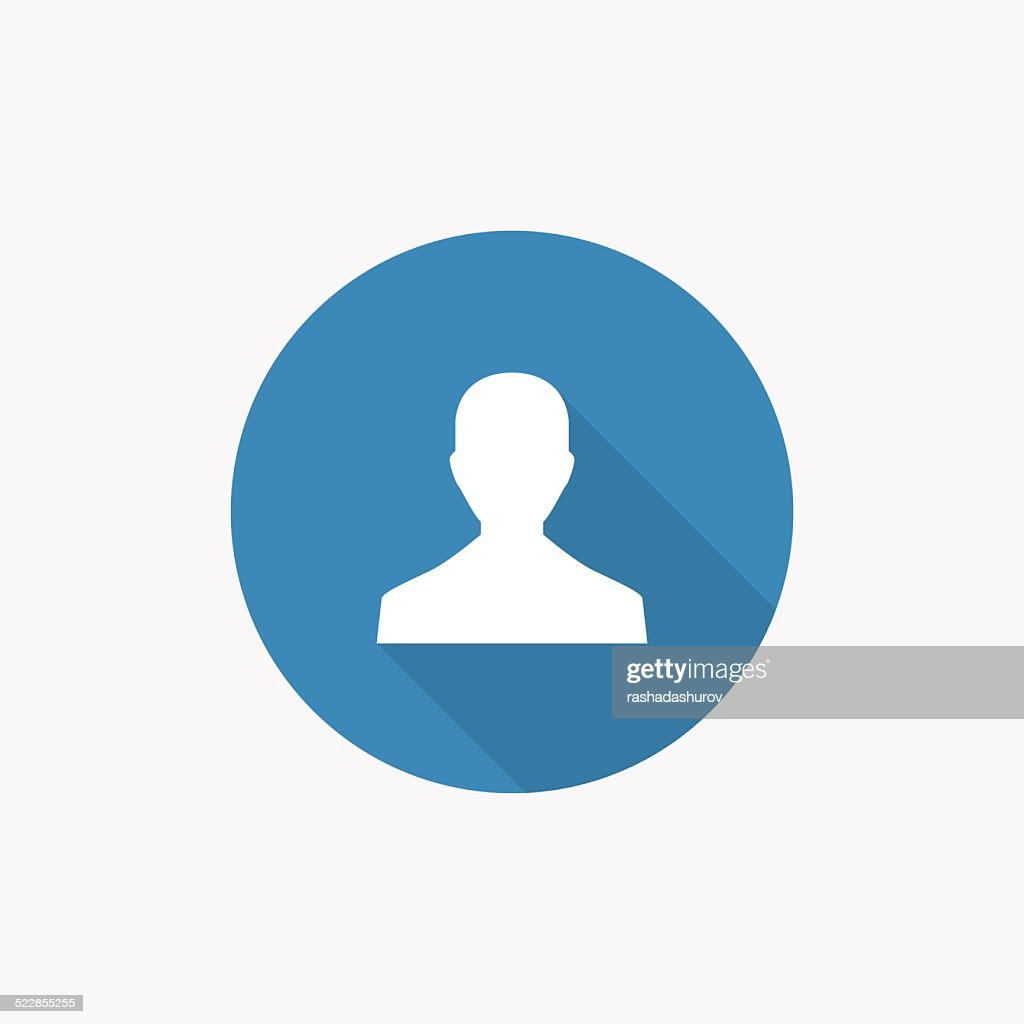 male profile Flat Blue Simple Icon with long shadow