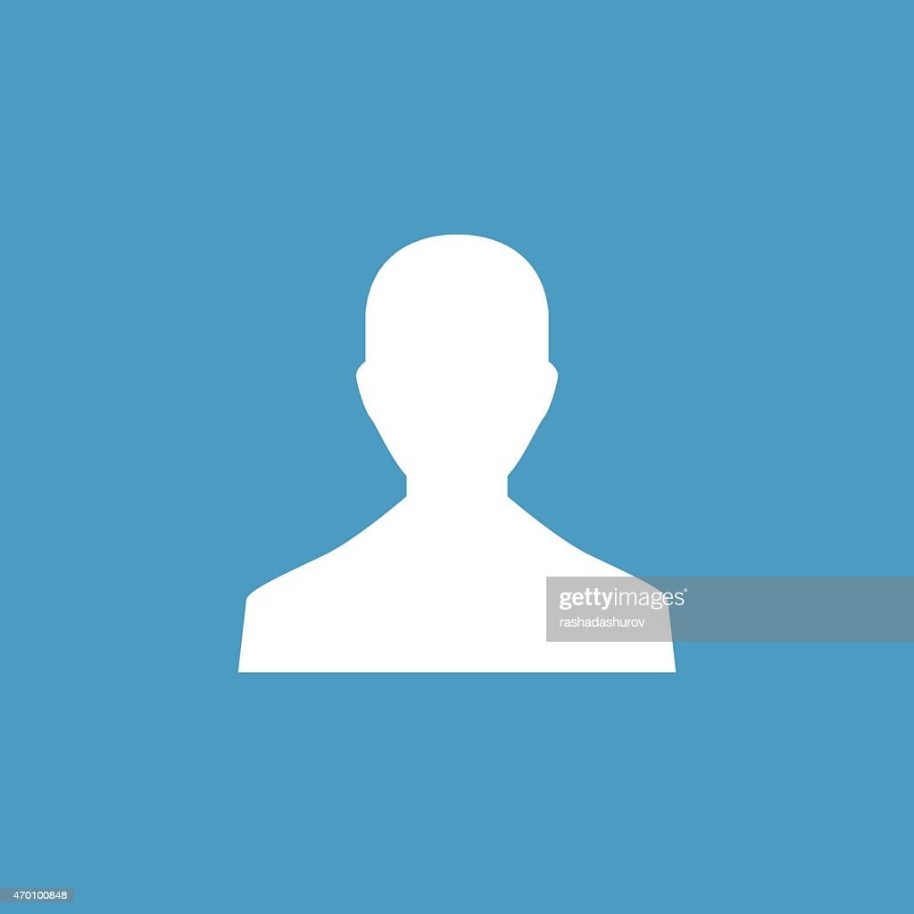 male profile icon, white on the blue background