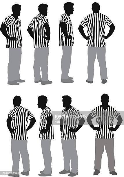 ilustrações, clipart, desenhos animados e ícones de masculino árbitro - mão no quadril