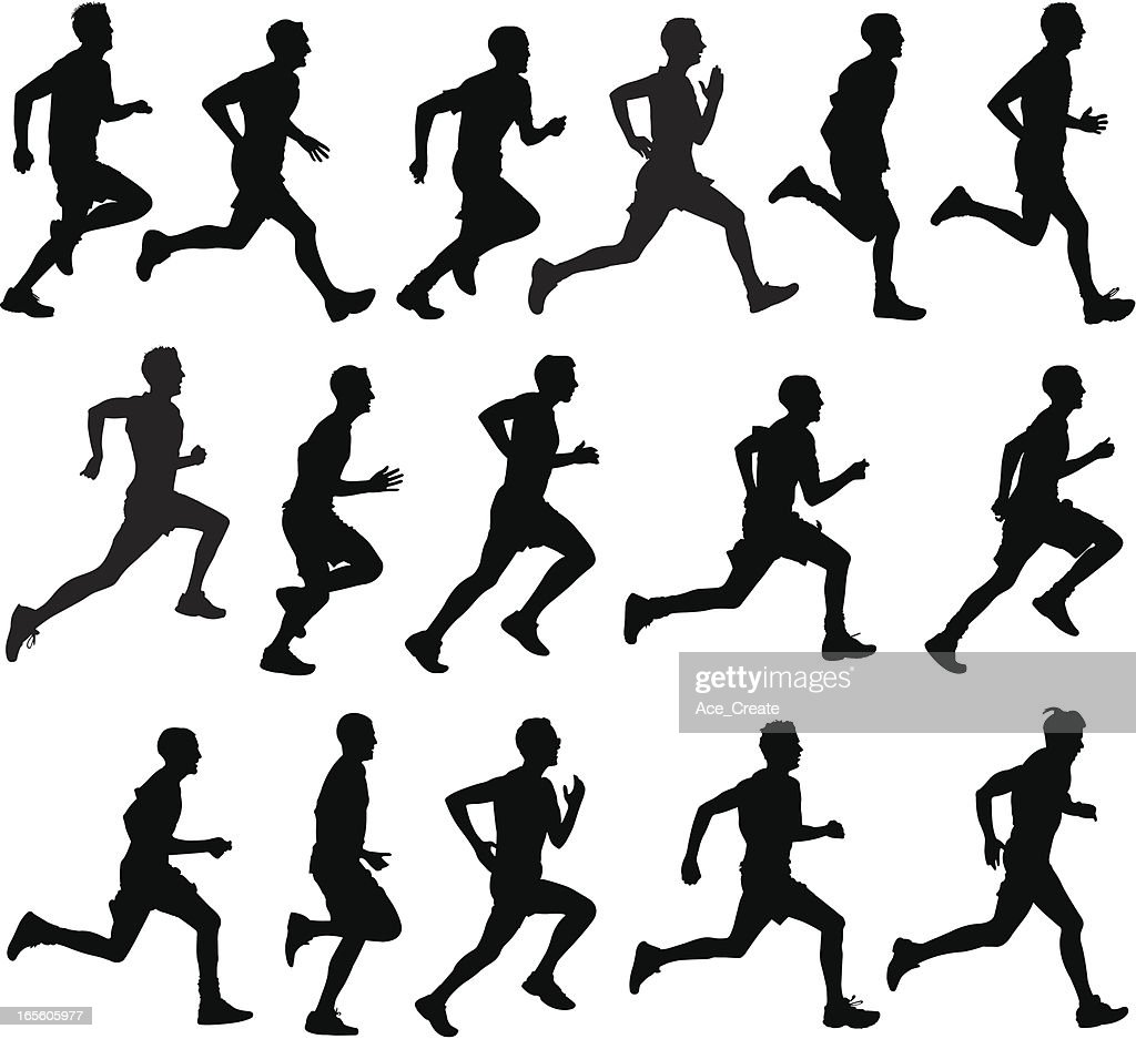 Male runners in silhouette profiles