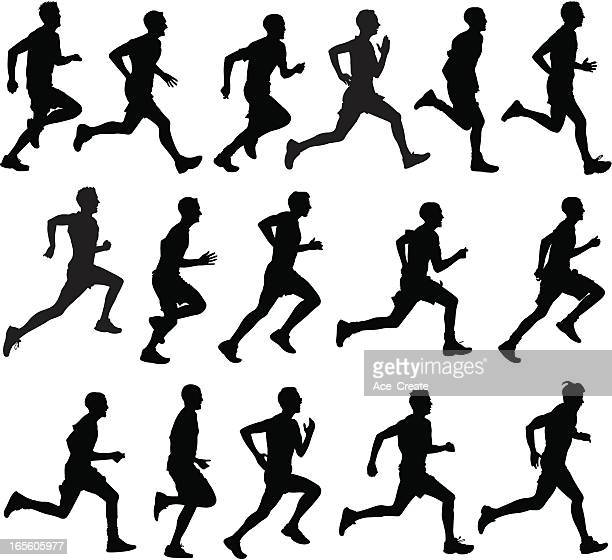 male runners in silhouette profiles - multiple image stock illustrations, clip art, cartoons, & icons