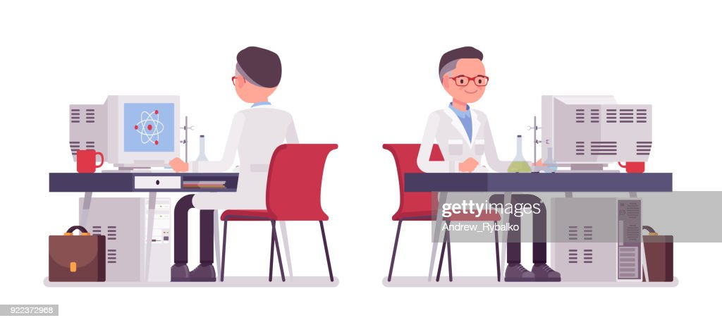 Male scientist working at the desk