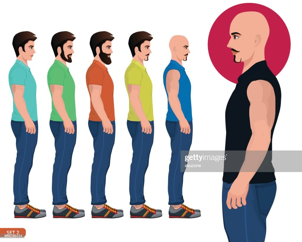 Male side Pose cloths character vector illustration