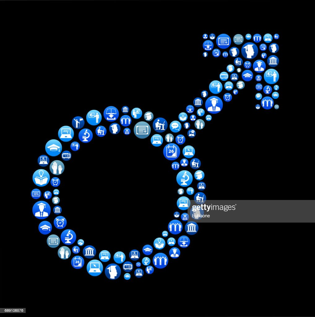 Male Sign E-learning and College Education Blue Button Pattern : Stock Illustration