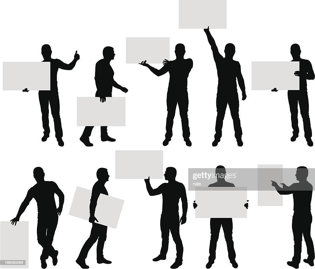 Male silhouettes holding blank sign