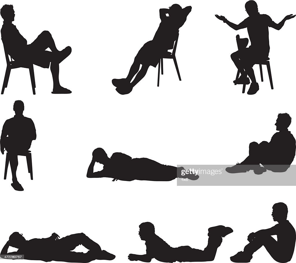 Male silhouettes sitting and laying around
