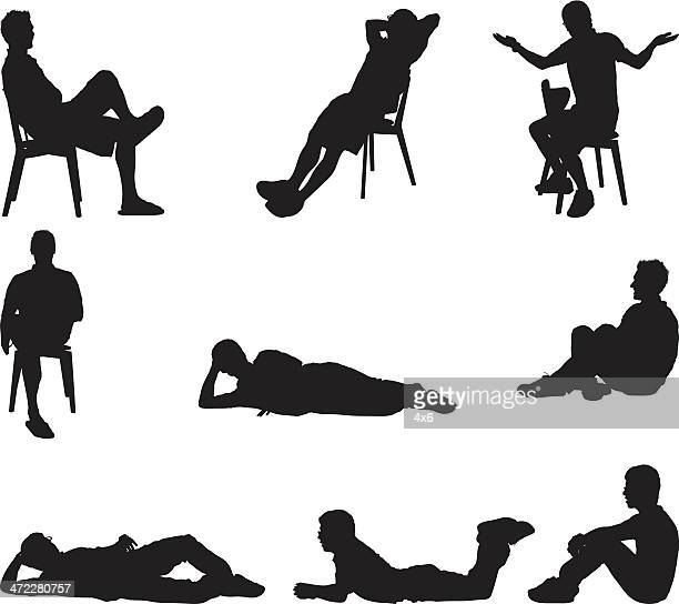 male silhouettes sitting and laying around - shrugging stock illustrations, clip art, cartoons, & icons
