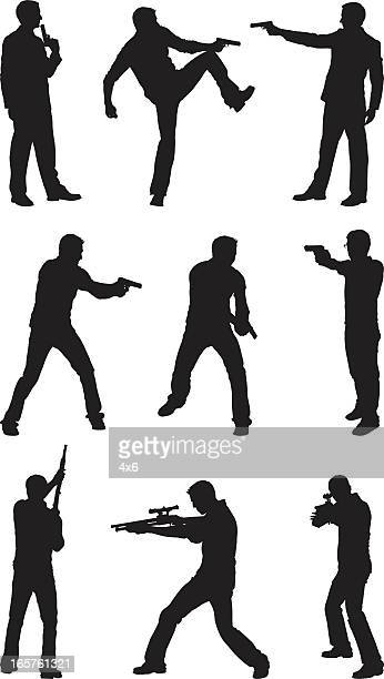 male silhouettes with hand guns and rifles - murderer stock illustrations, clip art, cartoons, & icons