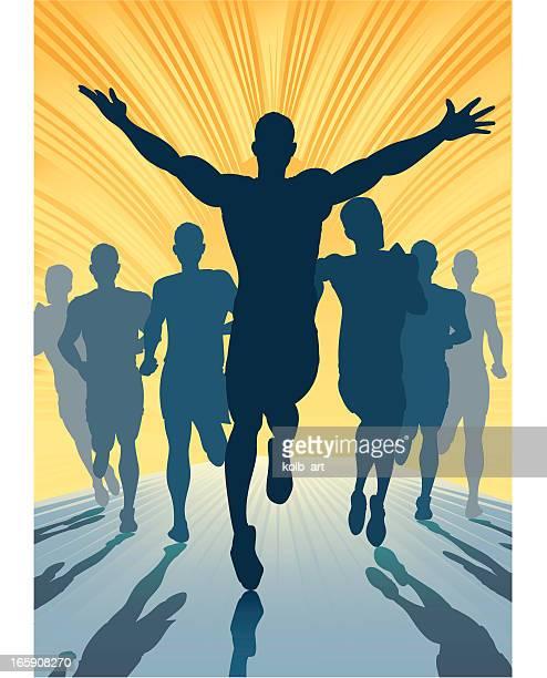 male sprint win - marathon stock illustrations
