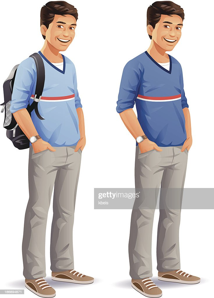 Male Student With Backpack : stock illustration
