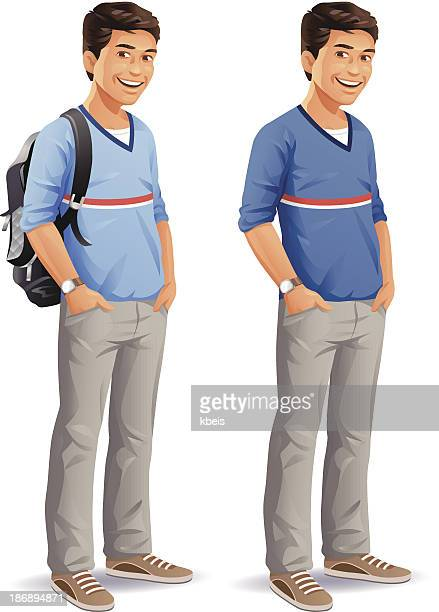 male student with backpack - adolescence stock illustrations