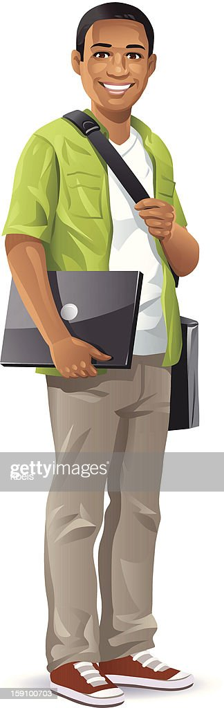 Male Student With Laptop : stock illustration