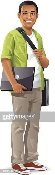male student with laptop - adolescence stock illustrations