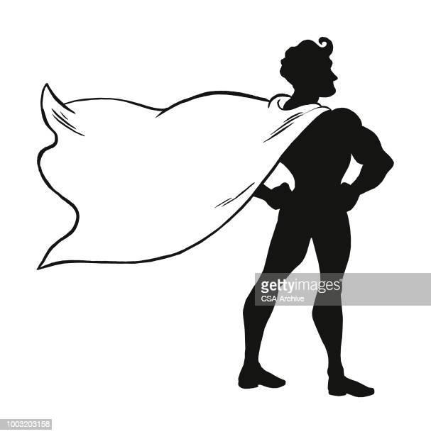 male superhero wearing a cape - cape garment stock illustrations