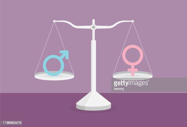 male symbol and female symbol on the scale - battle of the sexes concept stock illustrations